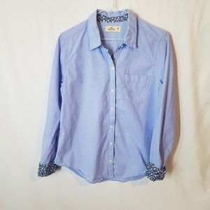 Hollister button down floral accented blue top